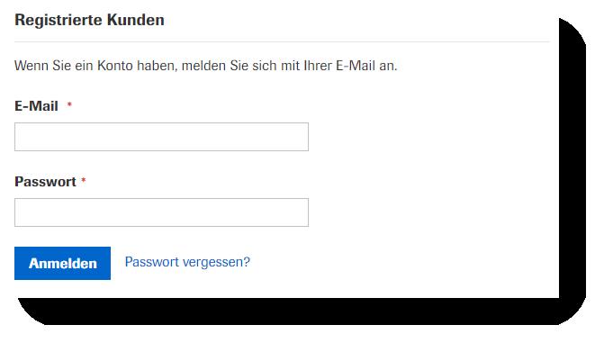 eShop registrierte Kunden